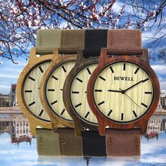 Bewell Simple Design Man Wooden Watch Canvas Band Round Dial Watch Zs-W134A Mc