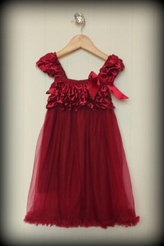 New Red/Burgundy Girl Christmas Dress, Sizes 12-24 mo, 2T, 3-4 T, 5-6, 7-8 #LittleMaesBoutique #DressyHoliday