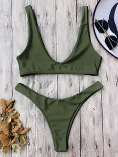 SHARE & Get it FREE | High Cut Scoop Bikini Set - Army Green MFor Fashion Lovers only:80,000+ Items • New Arrivals Daily Join Zaful: Get YOUR $50 NOW!