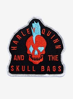 DC Comics Harley Quinn And The Skull Bags Logo Patch,