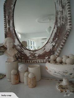 VINTAGE~Gorgeous OLD Shabby OAK Wall MIRROR | Trade Me