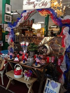 July 4th 2015 Display Mission Galleria Riverside Calif 4 story Collectables and Antiques Mall over 150 Dealers!