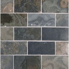 Honed slate subway tile blue grey black