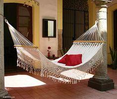 Cotton hammock, 'Maya Daydream' (single) - Natural Cotton Hammock Single Size Handmade in Mexico