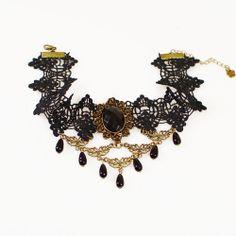 Lolita Gothic Black Fabric Beads Pendant Collar Choker Flower Lace Necklace #Choker