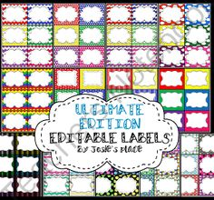 EDITABLE Labels ULTIMATE Edition Bundle & Save! from Josie's Place on TeachersNotebook.com - (17 pages) - Bundle and save with the Ultimate Edition of EDITABLE Labels.