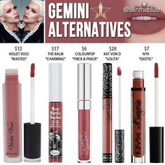 Dupes for Jeffree Star's Gemini lipstick /allintheblush/