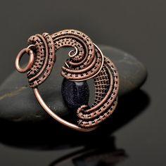 Blue Goldstone Wire Wrap Copper Pendant - Nicole Hanna Jewelry