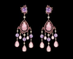 Ralph Lauren New Romantic Earrings - 18K rose gold chandelier earrings with diamonds, amethysts, red spinels, tourmalines.