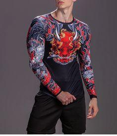 Muscle Strain, Rash Guard, Mens Fitness, Harajuku, Graffiti, Active Wear, Slim, Long Sleeve, 3d