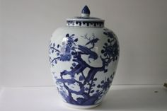Vintage Blue & White Chinoiserie Bird Ginger Jar $119