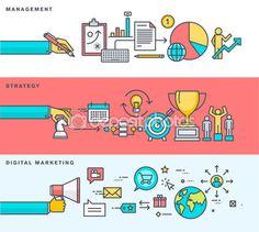 Набор из тонкой линии плоский дизайн баннеров для бизнеса, управление, стратегия, цифровой маркетинг, онлайн реклама — Векторная картинка #79130360