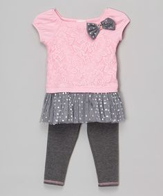 Youngland Pink Lace Bow Tunic & Gray Leggings - Infant, Toddler & Girls | zulily