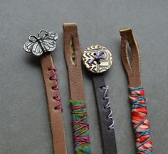 Sweet simple leather bracelets with button closure by Lorelei Eurto
