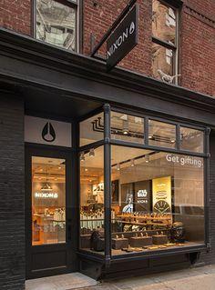 Checkland Kindleysides - Nixon - First European Store - The 'Horizon' Concept Cafe Shop Design, Cafe Interior Design, Shop Front Design, Store Design, Retail Facade, Shop Facade, Café Restaurant, Restaurant Design, Cafe Exterior
