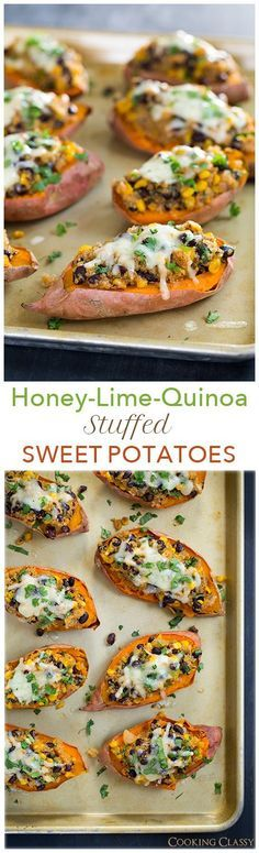 Honey Lime Quinoa Stuffed Sweet Potatoes - these are healthy and so DELICIOUS! [really, really good. The stuffing is good in and of itself. Good with tortilla chips.]