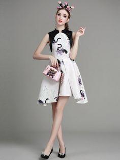 Printed Qipao / Cheongsam Dress with Curved Hem
