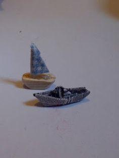 barchette giocattolo miniature 1:12 legno, carta di giornale, little boat, toys