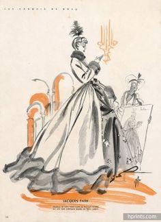 Jacques Fath 1947 Bosc Fashion Illustration Evening Gown