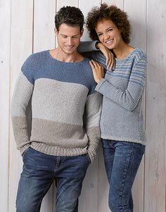 Panama | Book Woman Chic 89 Spring / Summer | 30: Man Sweater | Grey / Pearl light grey / Jeans