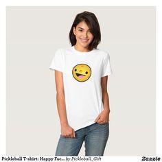 Pickleball T-shirt: Happy Face on Black (Women) T-shirt! Many styles & colors ———————————————— #pickleball #shirt #tshirt #tee #lol #men #women #kids #happyface #smile #logo #clothing #discount #sale #spring #2016 #gifts #giftidea