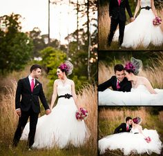 hot pink & black bride and groom attire - photo by Gray Photography