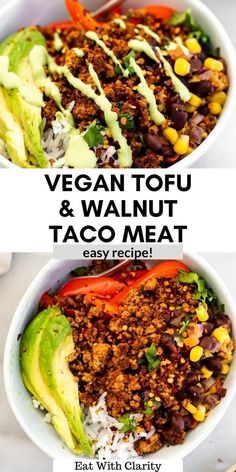 This vegan tofu and walnut taco meat is easy to make and bound to impress even the biggest meat eater! It's easy to make and perfect in tacos, burritos, salads and more. #vegantacomeat