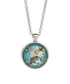 Look at this #zulilyfind! Silvertone Vintage Cat Necklace #zulilyfinds