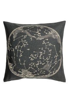 Povlak na polštářek s motivem - Antracitová šedá/bílá - HOME | H&M CZ 1