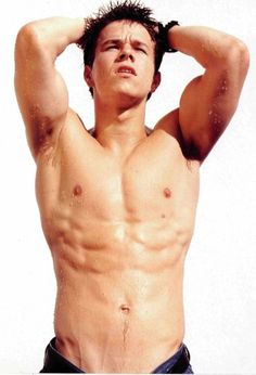 Oh Marky Mark, let me wipe down those wet muscles before you get sun spots!