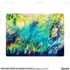 PAN AND DEER IN GREEN WOODS 6.5X8.75 PAPER INVITATION CARD