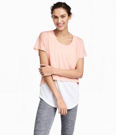 Layered Yoga Top | Powder pink/white | Women | H&M US