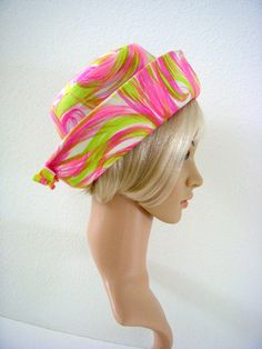 Vintage Mod 60s Hat in Hot Pink and Lime Green by OmAgainVintage