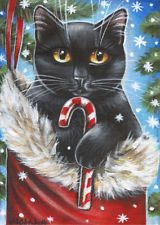 Christmas Cats, Christmas Drawing, Christmas Scenes, Christmas Paintings, Christmas Animals, Vintage Christmas Cards, Black Cat Art, Black Cats, Christmas Card Pictures