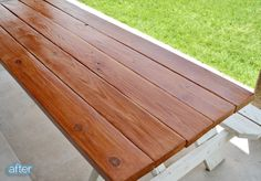 Another way to finish a Picnic Table.clear polyurethane ...