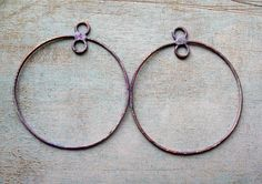 Hammered Brass Hoop Findings in Lavender  1 pair  2.5 inches