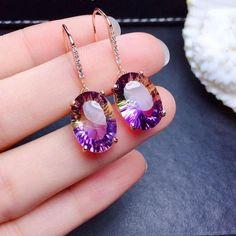 Elegant Amethyst Drop Earrings For Women Purple Tourmaline Gemstone Earrings Diamond Earrings For Women, Rose Gold Drop Earrings, Amethyst Earrings, Women's Earrings, Black Gold Jewelry, Gold Filled Jewelry, Tourmaline Gemstone, Amethyst Gemstone, Topaz Jewelry