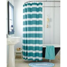 Refreshing colors and bold stripes Cotton Shower Curtain