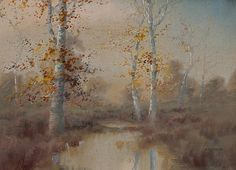 Dwight William Tryon - Autumn landscape with birches and stream