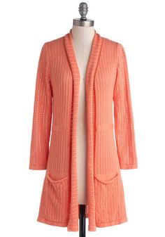 To Teach Her Own Cardigan in Coral. Show your students how to find their individual style in this coral-pink Myrtlewood cardigan, a ModCloth exclusive piece! #coral #modcloth