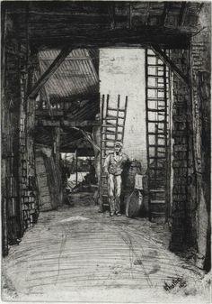 W.Jones, Limeburner, Wapping High St. Whistler, 1859. (via Whistler in Limehouse & Wapping   Spitalfields Life)