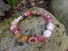 Pink Pansy Mix Bracelet Fudge Point  Jasper by HarborGirlDesigns