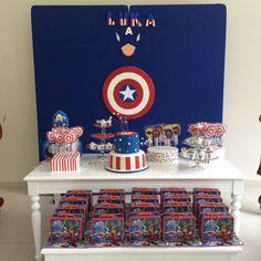 Decoration birthday Captain America Party, Captain America Birthday, Ideas Para Fiestas, 3rd Birthday Parties, Birthday Decorations, Avengers, Spiderman, Birthdays, Ideas Aniversario