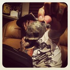 Tony Perry holding a turtle. Awe, my favorite person and animal together <33