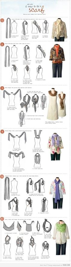 6 ways to Tie a Scarf with some Outfit ideas too. . . Great for Fall 2012