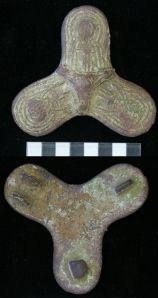Eleventh-century bronze Viking trefoil brooch.