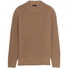 Calvin Klein Collection Waffle-knit camel hair sweater ($940) ❤ liked on Polyvore featuring tops, sweaters, brown, outerwear, oversized sweaters, camel top, waffle top, brown tops and thick sweater