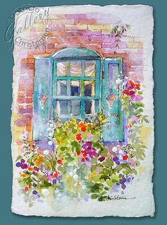 Cottage Window Mixed Media Original Painting on Post Card Size Shabby Chic - FREE Shipping