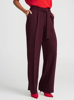 Tie-belt wide-leg pant | Contemporaine | Shop Women's Work Pants| Simons