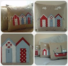 Set of 3 nautical linen applique cushion covers ..can also buy
